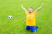 Joyful boy soccer player  — Photo