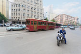 Old tram on the streets of Dalian in China — Stock Photo
