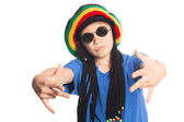 European boy in a cap with dreadlocks sings rap — Zdjęcie stockowe