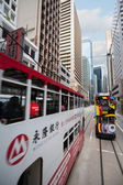 Double decker trams in the streets of Hong Kong — Стоковое фото
