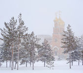 Winter landscape with the town church — Stock Photo