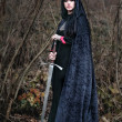 Medieval lady with sword - Stok fotoğraf