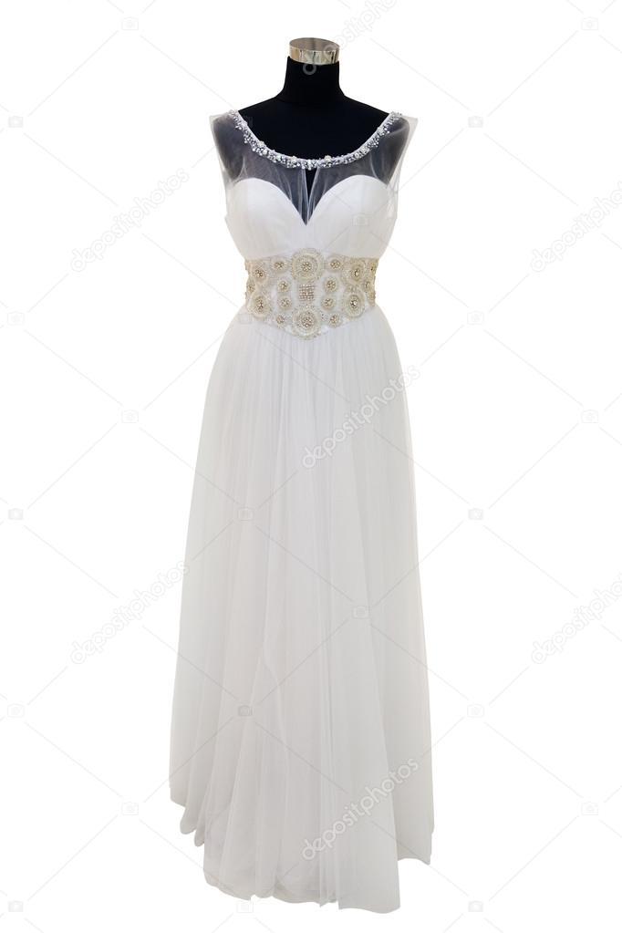 Elegant Wedding Dress On A Mannequin Isolated On White Stock Photo C Gsermek 20909387