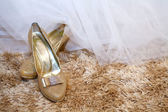 Golden wedding shoes on a carpet with copy space on the right — Stock Photo