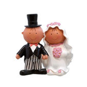 A wedding couple - figurines for wedding cake, isolated on white — Stock Photo