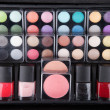Make up case containing colorful eyeshadows, lipsticks, lip glos — Stock Photo