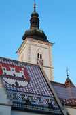 Mosaic roof of St Marks church in Zagreb, Croatia. — Stock Photo