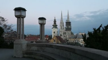 View at the Cathedral in Zagreb, Croatia. — Stock Video