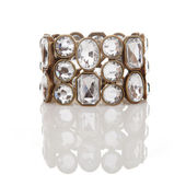 Pulsera de diamantes aislado en blanco con la reflexión — Foto de Stock