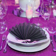 Detail of a wedding dinner setting — 图库照片