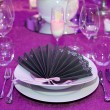 Detail of a wedding dinner setting — Stock Photo