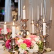Candle holder decorated with flowers — Stock Photo #41161211