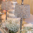 Beautiful crystal lamps decorating the table — Foto Stock