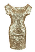 Golden sequin dress — Stock Photo