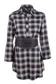 Plaid female shirt with belt — Stock Photo