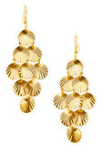 Pair of golden earrings — Stock Photo