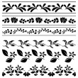 Stock Vector: Floral vector borders - black tracery