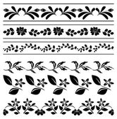Floral vector borders - black tracery — Stock Vector