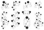 Set of vector decorative floral elements — Stock Vector
