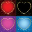 Royalty-Free Stock Vector Image: Gold decorative cards with hearts - set of frames