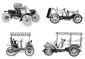 Vector set of the retro automobiles — Stock Vector