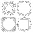 Stock Vector: Black vector vintage floral frames - set