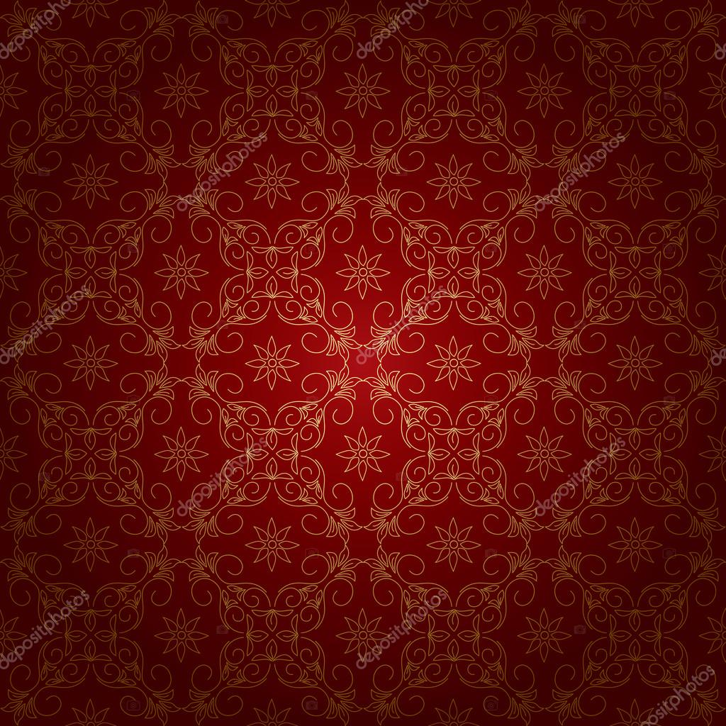 Red beautiful vintage background with gold ornament - vector — Stock Vector #13726367