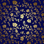 Blue and gold floral texture for background - vector — Stock Vector