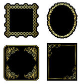 Black and gold vintage frames - vector set — Stock Vector