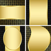 Golden and black decorative cards - set - vector — Stock Vector