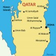 Stock Vector: State of Qatar - vector map