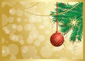 Carta vettoriale oro con decorazioni natalizie — Vettoriale Stock