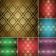 Royalty-Free Stock Vector Image: Set - beautiful vintage patterns with gold ornament - vector
