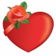Red heart and rose - vector — Stock Vector