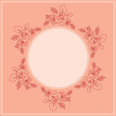 Pink vector card with floral ornament — Stock Vector