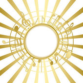 Gold music card with rays - vector — Stock Vector
