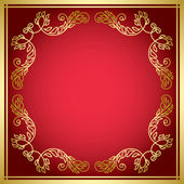 Red vector card with golden frame — Stock Vector