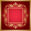 Stock Vector: Red vector decorative card with golden frame