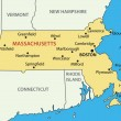 Stock Vector: Commonwealth of Massachusetts - vector map