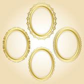 Beautiful gold oval decorative frames - vector set — Stock Vector