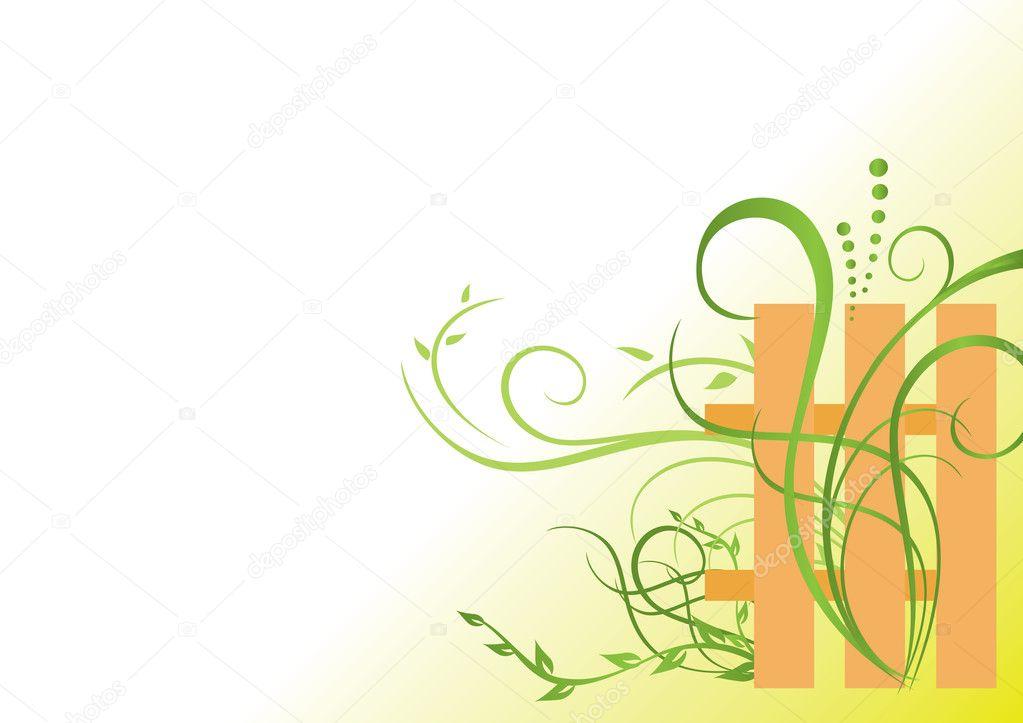 矢量花卉绿色插画与栅栏
