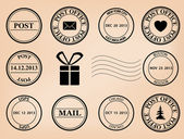 Set - vector post stamps — Stock Vector
