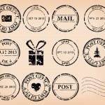 vecteur série - timbres poste grungy noir — Vecteur