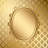 Oval golden frame on gold pattern - vector — Stock vektor