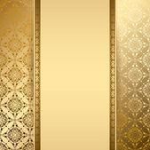 Fundo dourado com padrão vintage - vector — Vetor de Stock