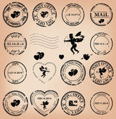 Vector set - romantic grungy post stamps with angels and hearts — Stock Vector