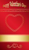 Bright red card with gold hearts for valentine day - vector — Stock Vector