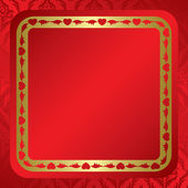 Red background with ornament and frame - vector — Stock Vector