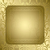 Bright golden background with golden ornament and frame - vector — Stock Vector
