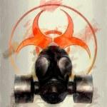 Black gas mask with biohazard symbol - sketch — Stock Photo